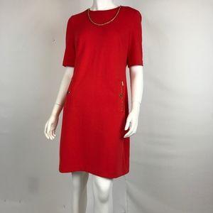 NWT! Calvin Klein Red Dress with Zipper Trim